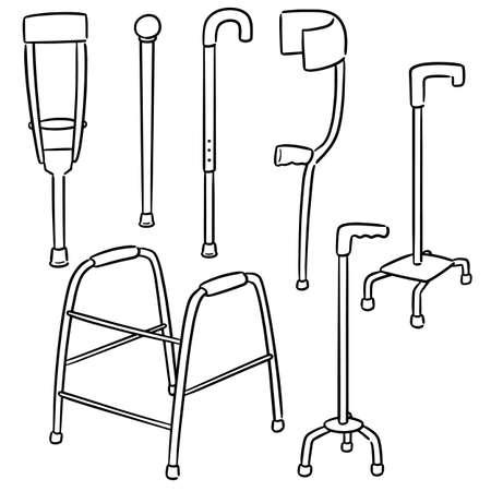 ensemble de vecteurs de bâton de marche Vecteurs