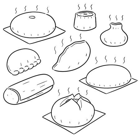 vector set of chinese snack
