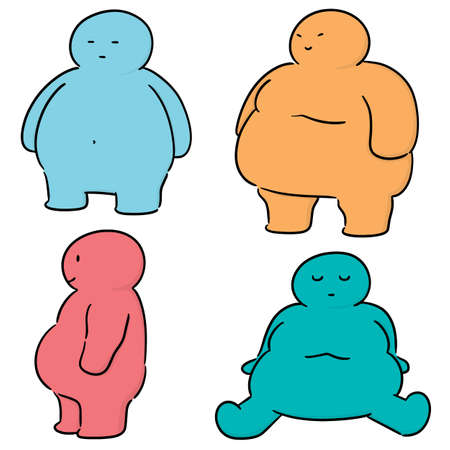 vector set of fat people