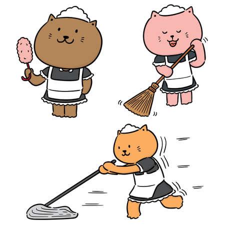 vector set of maid cat