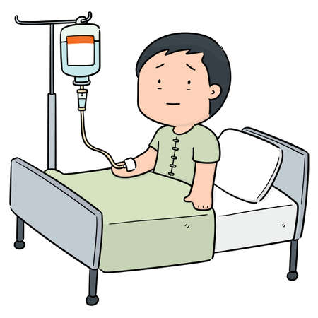 vector of patient using infusion medicine Illustration