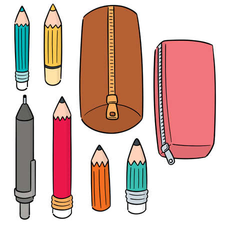 vector set of pencil and pencil case Ilustração