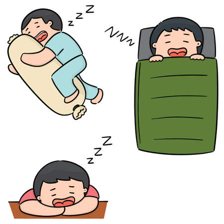 vector set of men sleeping Illustration