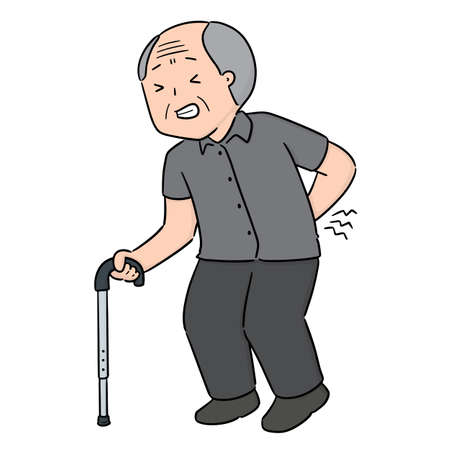 vector of elder man got backache Stock Illustratie