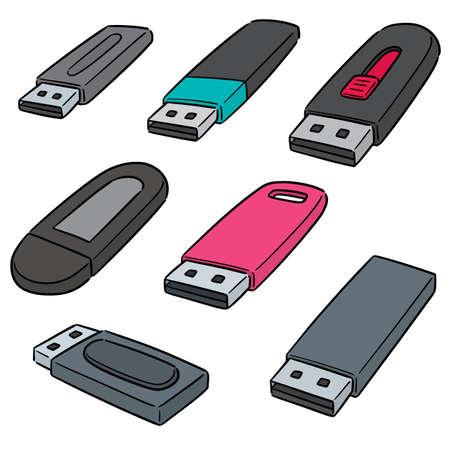 vector set of usb flash drive