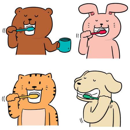Vektor-Set von Tieren, die Zähne putzen Vektorgrafik