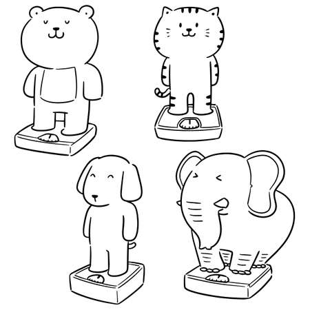vector set of animal on weighing machine