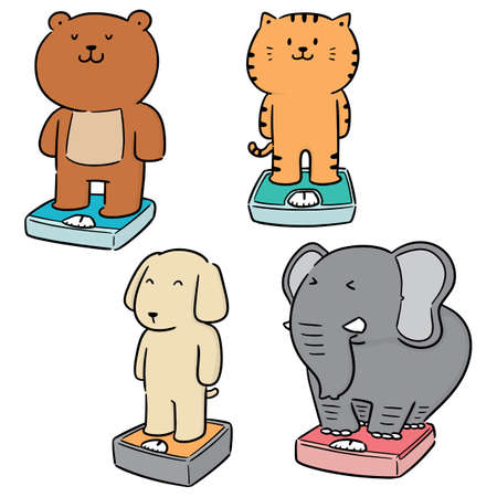 vector set of animal on weighing machine Vectores