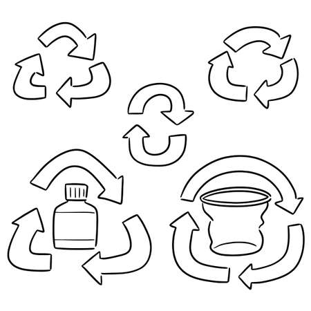 vector set of recycle icon Иллюстрация