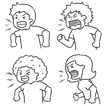 vector set of shouting people