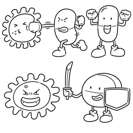 vector set of bacteria and antibiotics Illustration