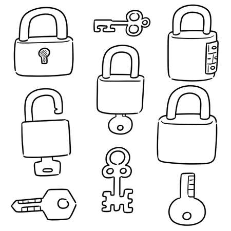 vector set of lock and key Stock Vector - 127972969