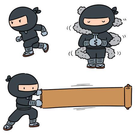 vector set of ninja Ilustração