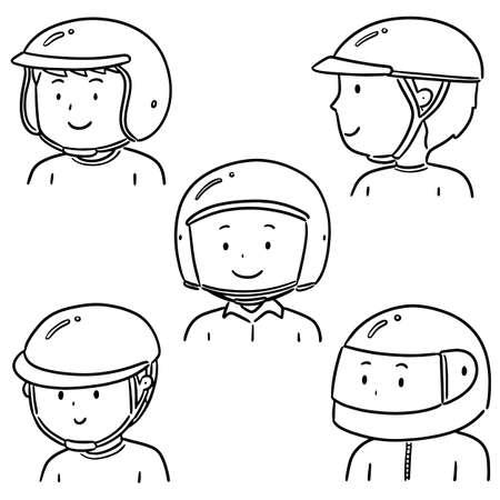 vector set of people wearing helmet 向量圖像