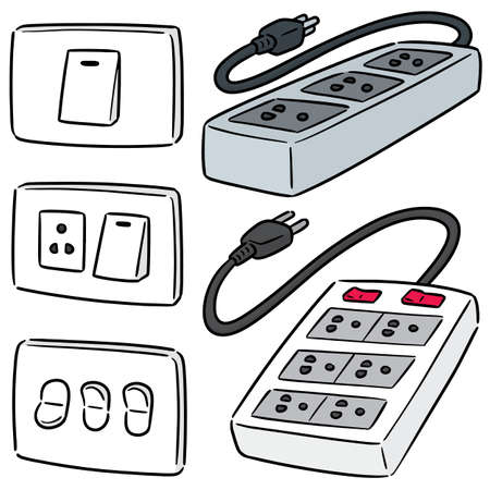 vector set of electric switch and plug