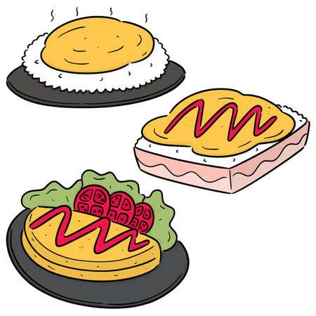 vector set of omelette rice Vettoriali