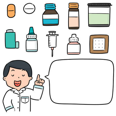 vector set of pharmacist and medicine Illustration