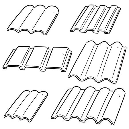 vector set of roof tile