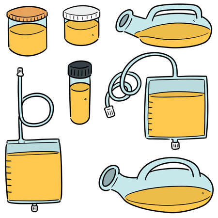 vector set of urine storage container
