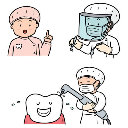 vector set of dentist