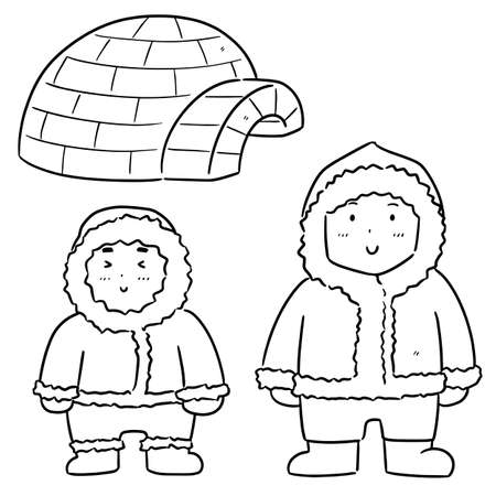 vector set of eskimo Illustration