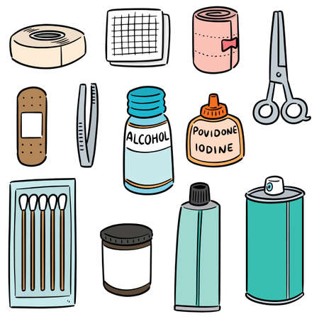 vector set of first aid kit Illustration