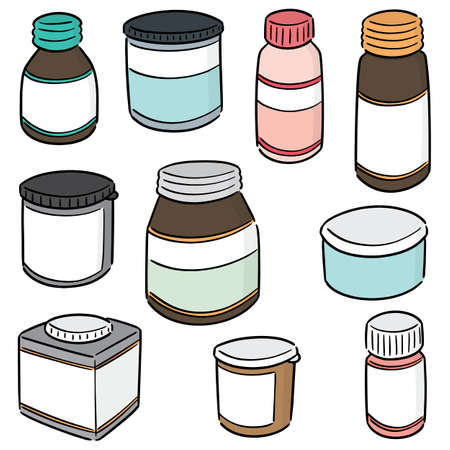 vector set of medicine bottle