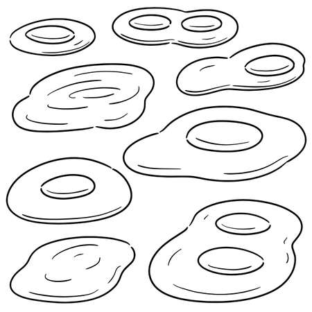 vector set of fried egg Illustration