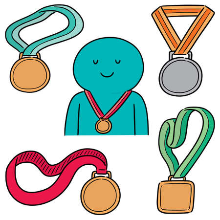 vector set of medal
