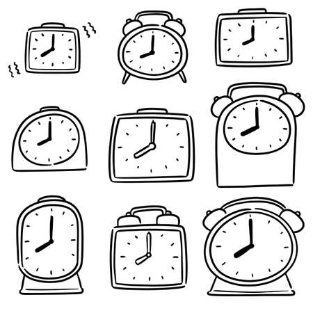 vector set of alarm clock