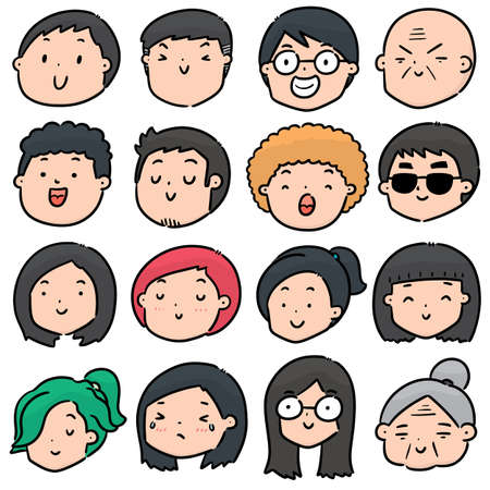 vector set of cartoon face Illustration