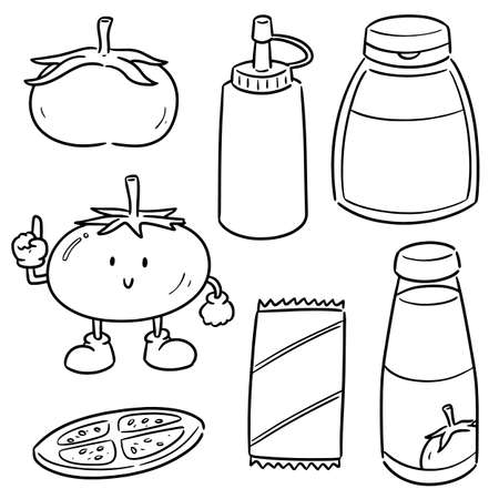 vector set of tomato and tomato ketchup Illustration