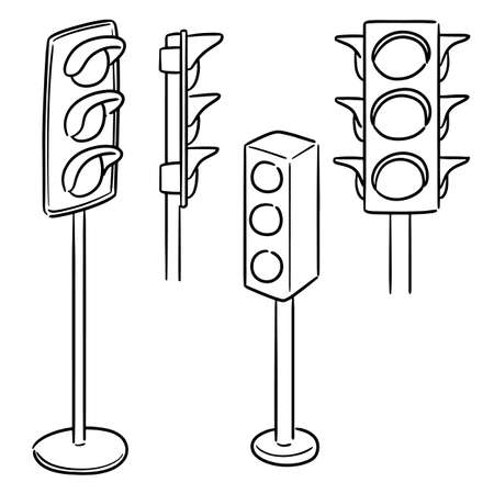 vector set of traffic light Illustration