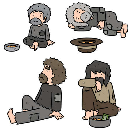 vector set of beggar