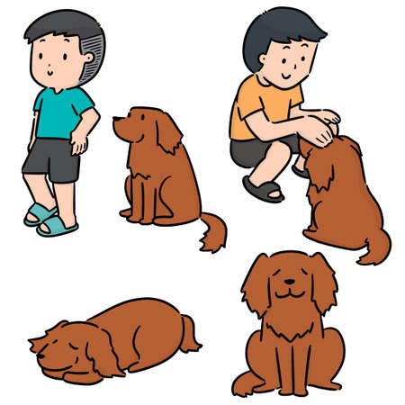 vector set of man and dog Illustration