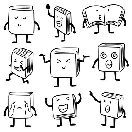 vector set of book cartoon Illustration