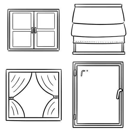 vector set of window Illustration