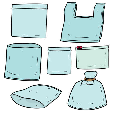vector set of plastic bag