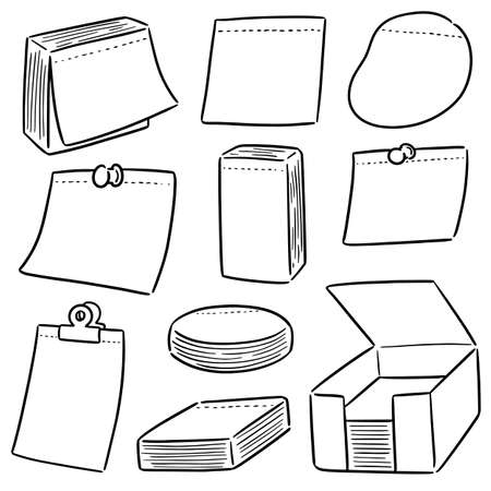 vector set of memo note Illustration