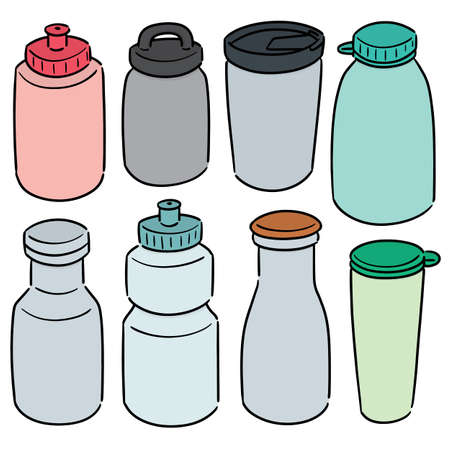 vector set of water bottle Çizim