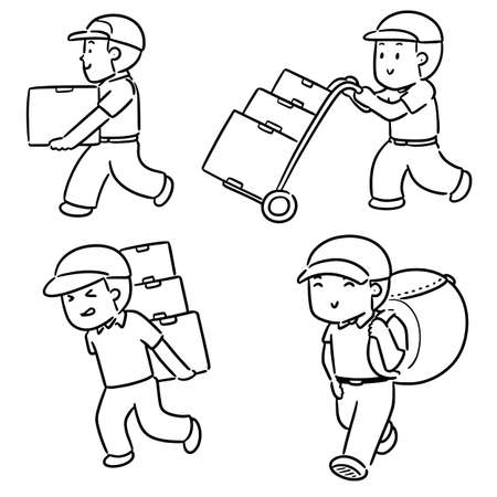 vector set of delivery man