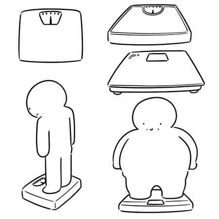vector set of people on weighing machine Çizim