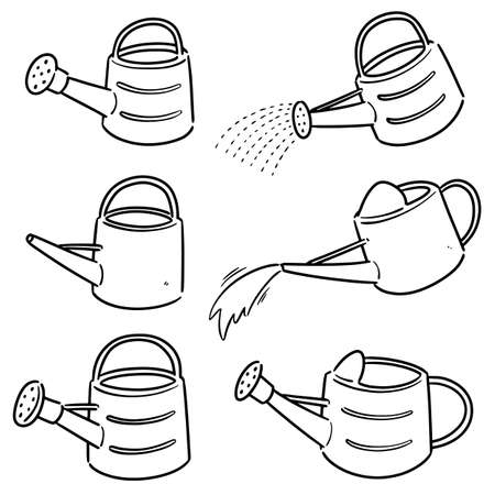 vector set of watering can Çizim