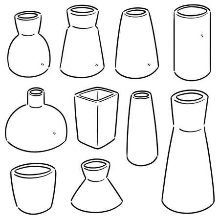 vector set of vase