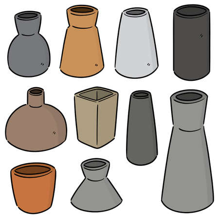 vector set of vase