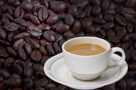 coffee cup and bean Stock Photo