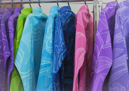 A colorful clothes is how in the store.