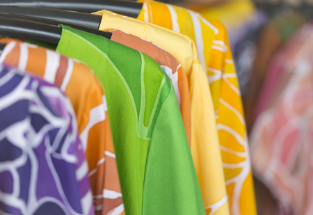 A colorful clothes i show in the store.