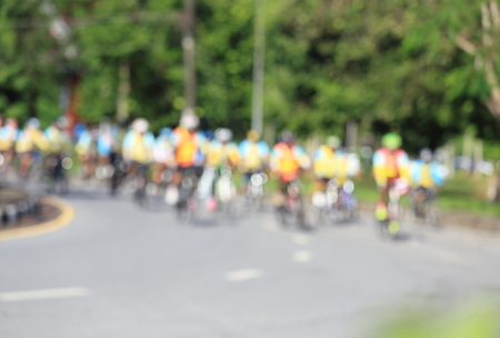 A blurry bike bicycle in the Thailand. Stock Photo