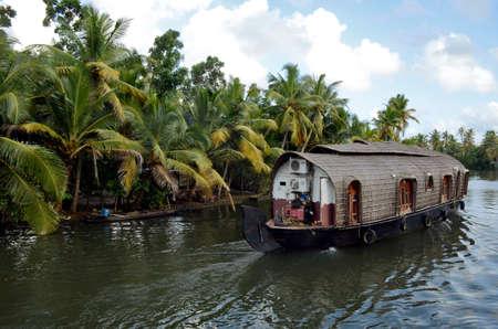 houseboat at backwater alleppy kerala Stock Photo